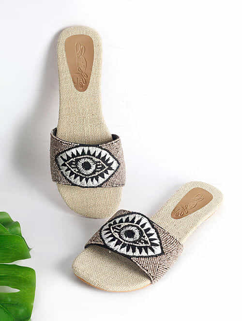 Light Grey Handcrafted Faux Leather Flats