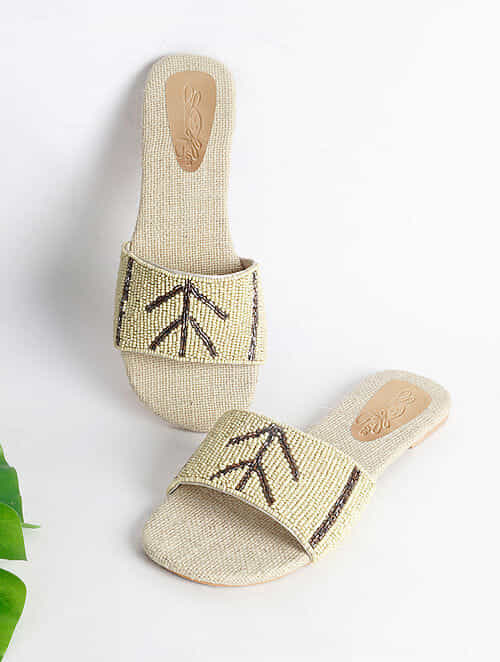 Cream Handcrafted Faux Leather Flats