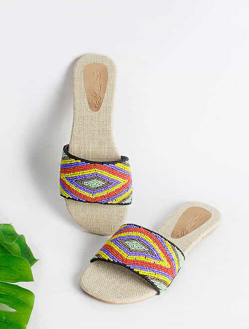 Multicolored Handcrafted Faux Leather Flats
