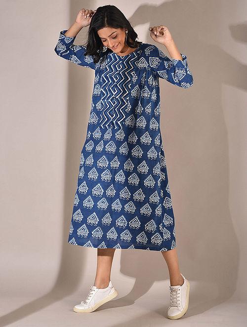 Indigo Dabu Printed Dress