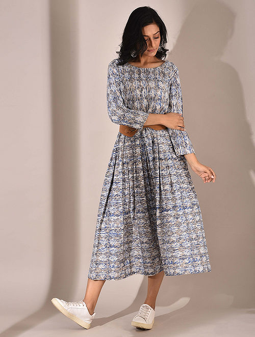 Indigo Dabu Printed Dress