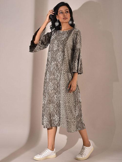 Brown Dabu Printed Dress