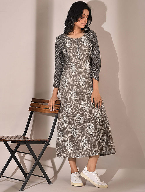 Brown Dabu Printed Dress