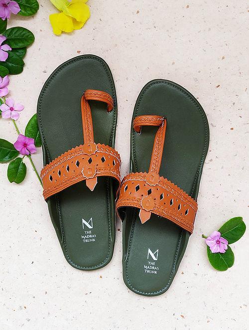 Orange Green Handcrafted Leather Kolhapuri Flats