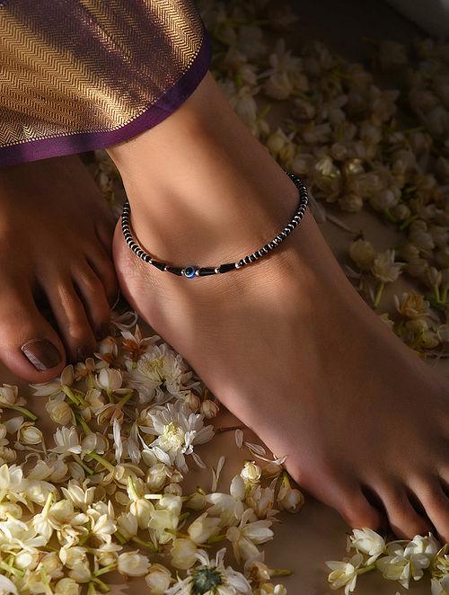 Black Beaded Anklet with Evil Eye
