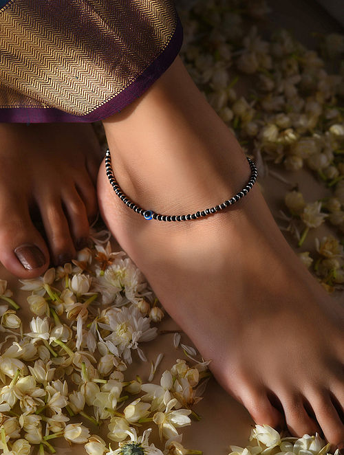 Black Beaded Silver Anklet with Evil Eye