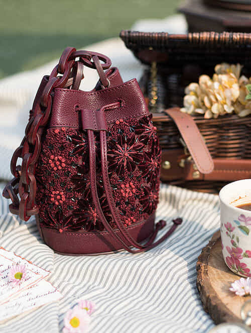 Maroon Handcrafted Genuine Leather Bucket Bag
