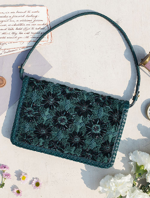 Green Handcrafted Genuine Leather Hand Bag