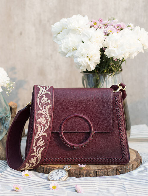 Maroon Handcrafted Genuine Leather Sling Bag