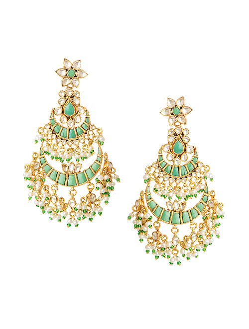 Green Gold Plated Silver Earrings with Pearls