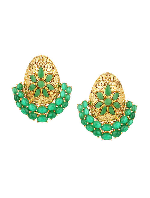 Green Gold Plated Silver Earrings