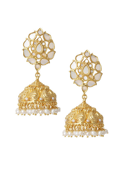 Gold Plated Silver Jhumki Earrings with Pearls