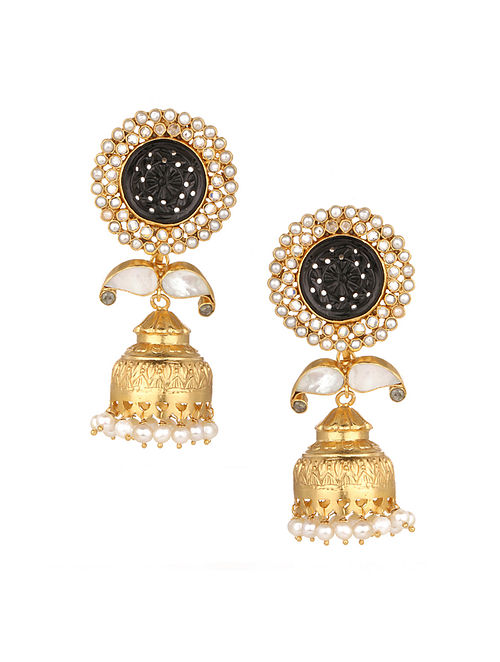Black Gold Plated Silver Jhumki Earrings with Mother of Pearl
