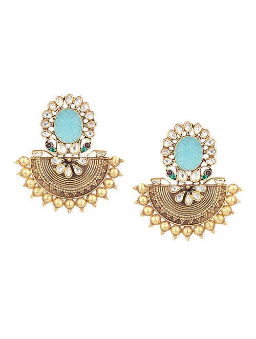 Turquoise Gold Plated Silver Earrings