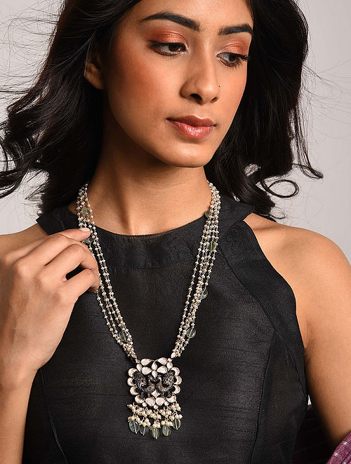 Tribal Kundan Pearl Beaded Silver Necklace