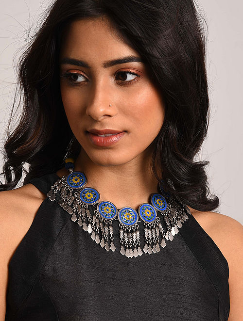 Blue Enameled Tribal Silver Necklace