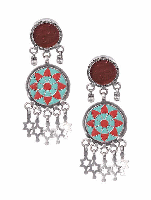 Red Enameled Tribal Silver Earrings