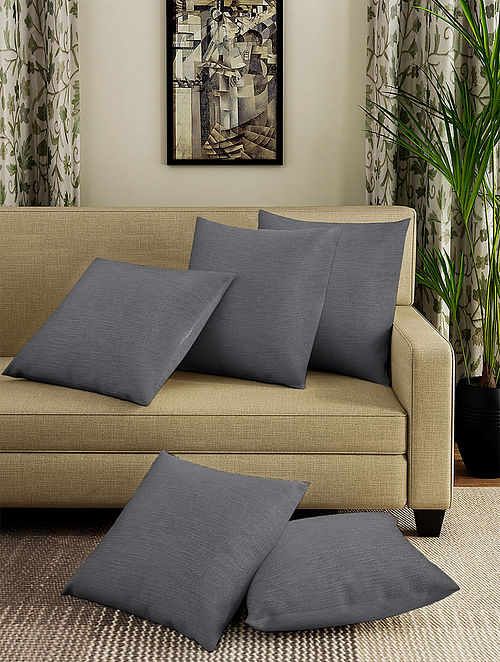 Grey Handmade Cotton Cushion Covers (Set of 5) (16in x 16in)