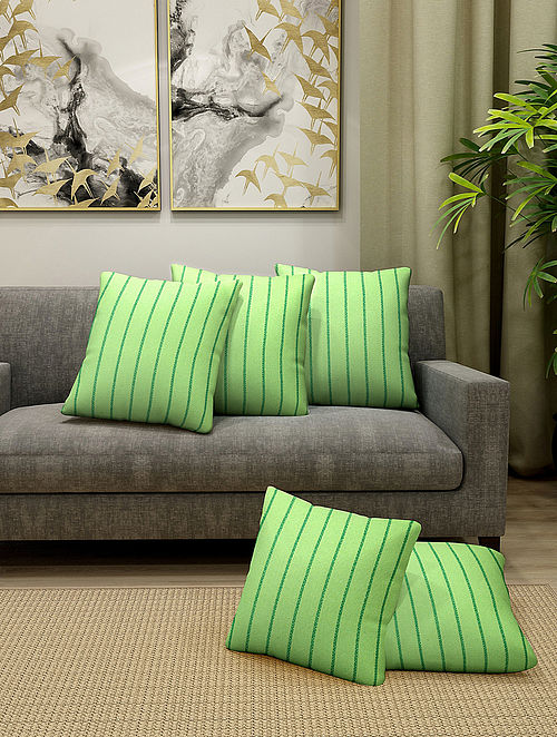 Parrot Green Handmade Cotton Cushion Covers (Set of 5) (16in x 16in)