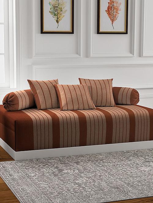 Brown Handmade Cotton Diwan Set (Set of 6)