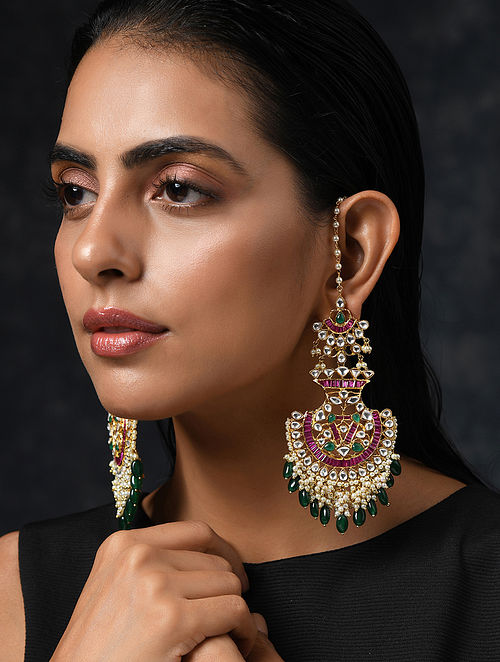 Pink Green Gold Tone Kundan Earrings And Ear Chains With Jade
