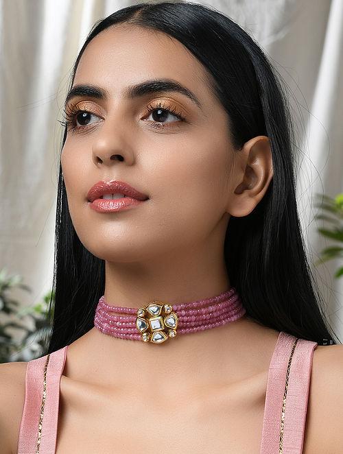 Pink Gold Tone Kundan Beaded Choker Necklace