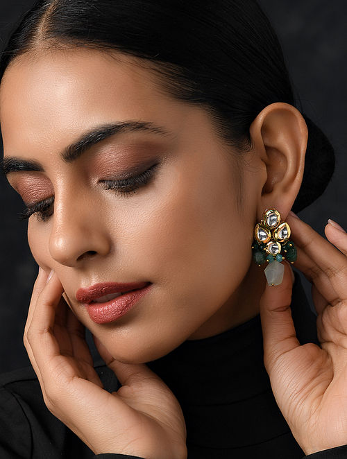 Green Gold Tone Kundan Earrings With Agate And Jade
