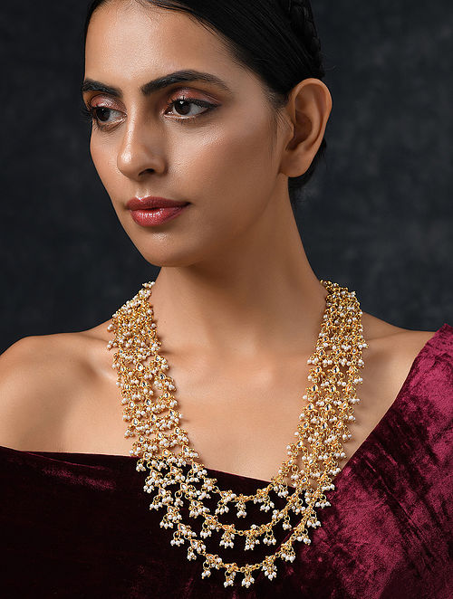 Gold Tone Kundan Beaded Layered Necklace With Pearls