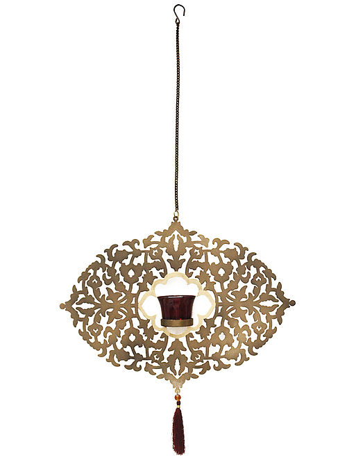 Arabesque Antique Gold Handcrafted Iron Hanging T-light Holder with Red Glass (L - 15.3in, W - 2in, H - 11.2in)