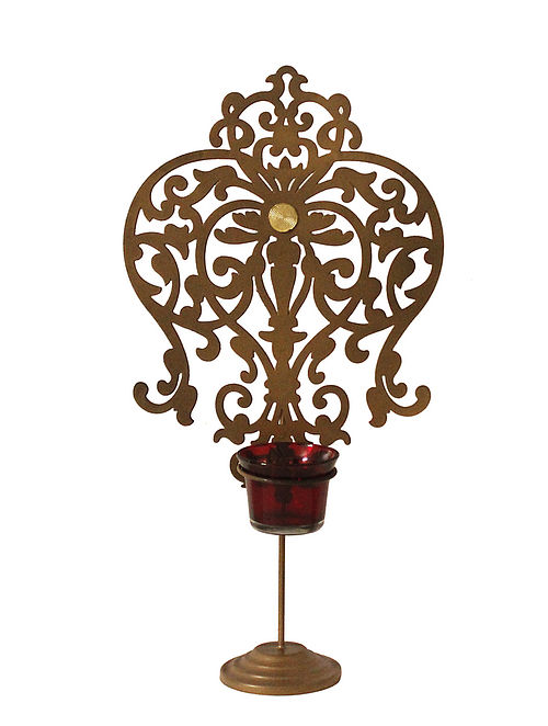 Rococo Antique Gold Handcrafted Iron Tabletop T-light Holder with Red Glass (L - 8in, W - 4.13in, H - 14.7in)