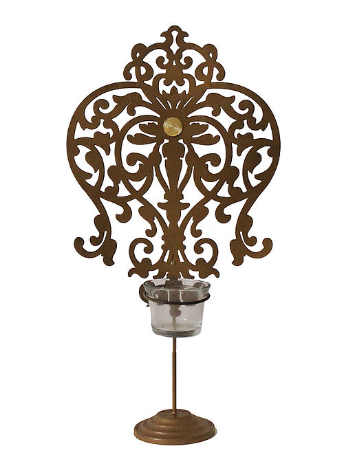 Rococo Antique Gold Handcrafted Iron Tabletop T-light Holder with Clear Glass (L - 8in, W - 4.13in, H - 14.7in)
