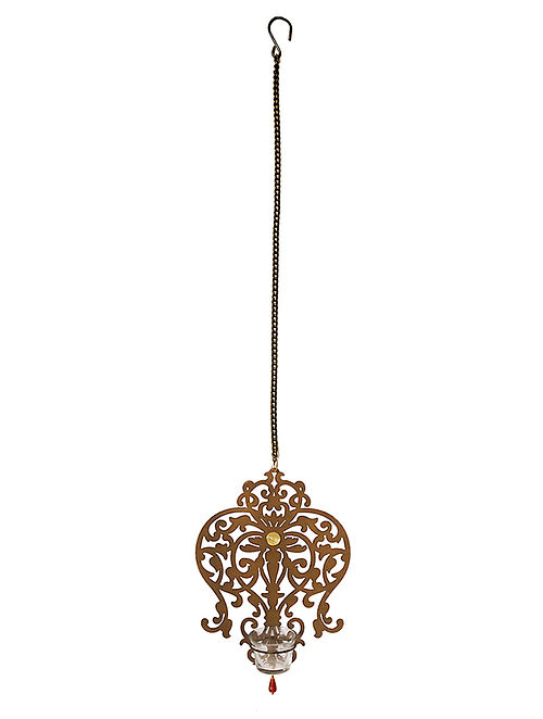 Rococo Antique Gold Handcrafted Iron Hanging T-light Holder with Clear Glass (L - 8in, W - 2.4in, H - 11in)