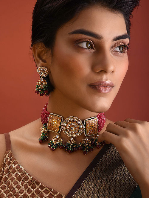 Pink Green Kundan Beaded Necklace With Earrings
