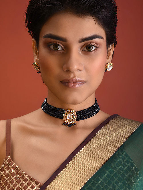 Black Gold Tone Kundan Beaded Necklace With Earrings
