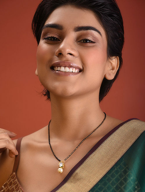 Black Gold Tone Kundan Mangalsutra Necklace With Pearl