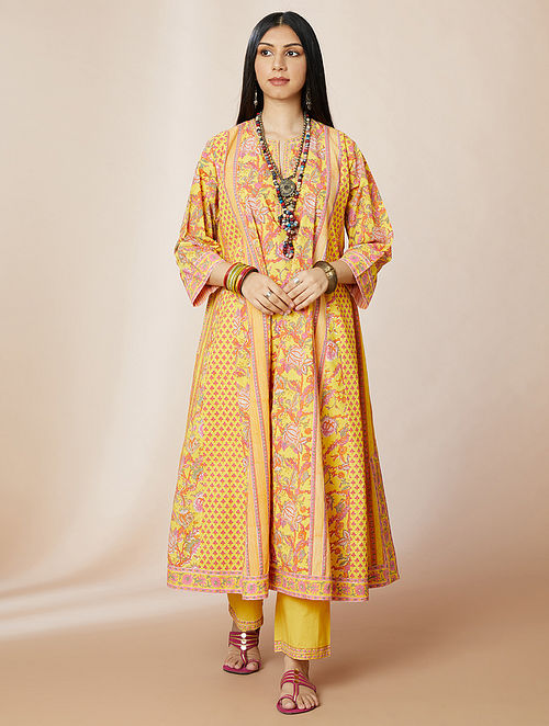 Yellow Hand Block Printed Cotton Kurta