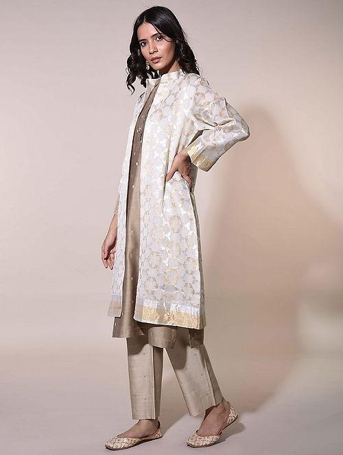 Ivory  Handwoven Chanderi Jacquard Long Jacket