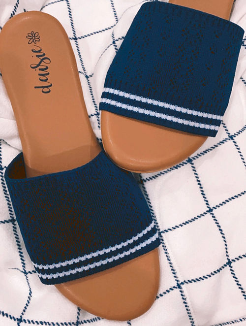 Blue Handcrafted Vegan Leather Flats
