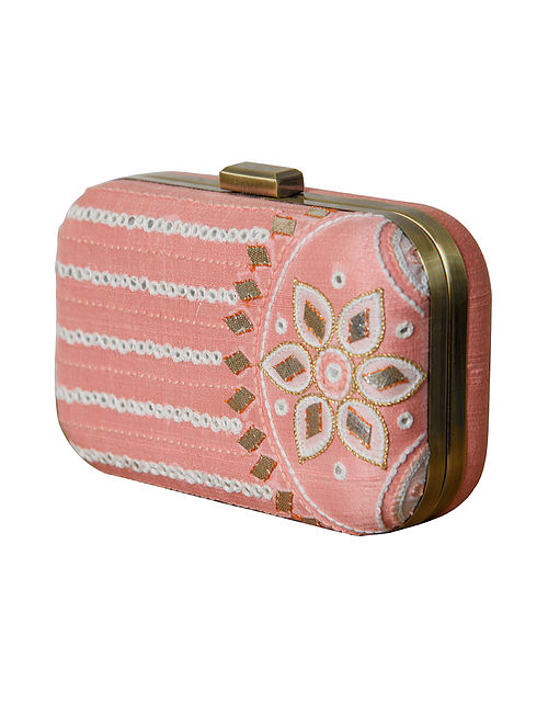 Pink Handcrafted Khadi Cotton Clutch