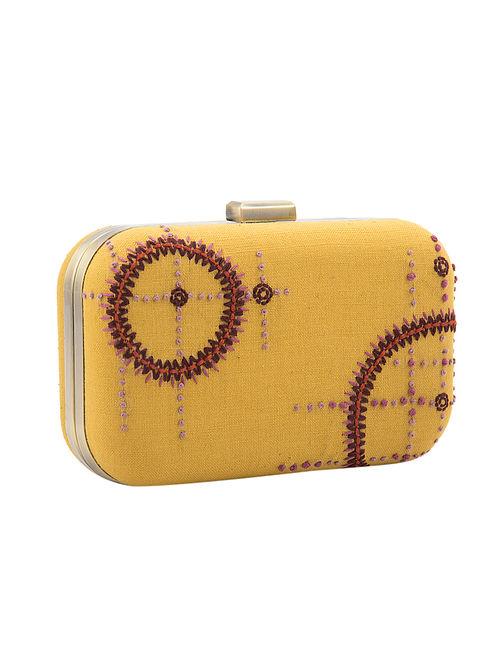 Mustard Handcrafted Khadi Cotton Clutch