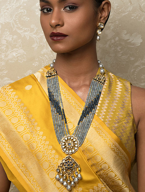 Blue Grey Gold Tone Kundan Beaded Necklace And Earrings With Agate And Pearls