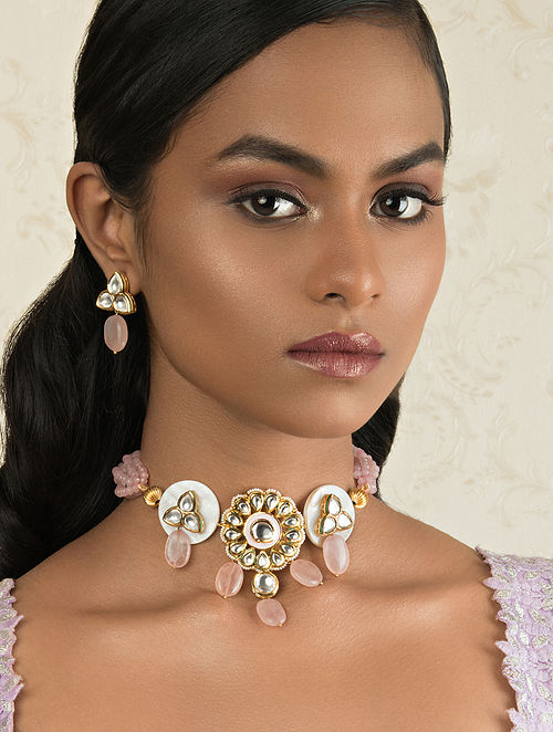 Pink Gold Tone Kundan Necklace And Earrings With Rose Quartz
