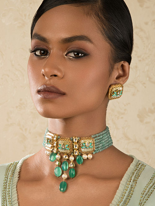 Green Gold Tone Kundan Beaded Necklace And Earrings With Agate Quartz And Pearls