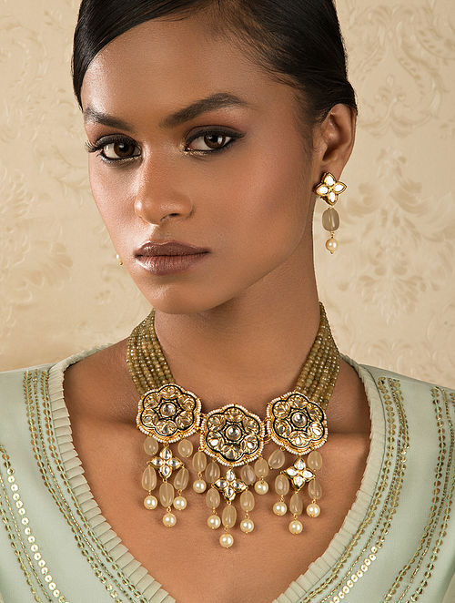 Brown Gold Tone Kundan Enameled Necklace And Earrings With Agate And Quartz