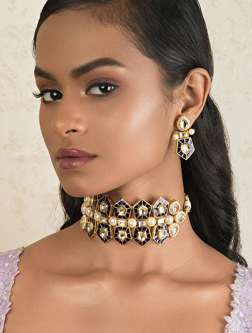 Blue Grey Gold Tone Kundan Necklace And Earrings With Pearls