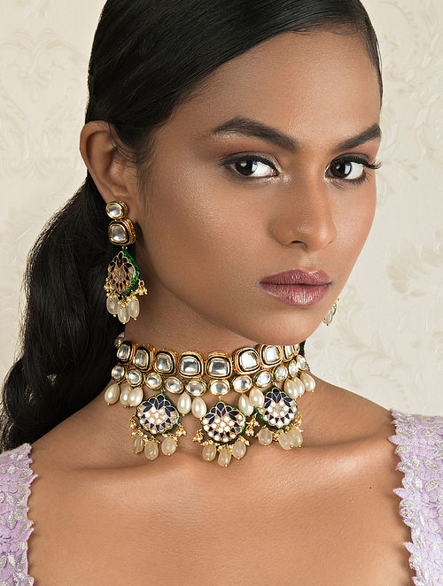 Blue Gold Tone Kundan Necklace And Earrings With Quartz And Pearls
