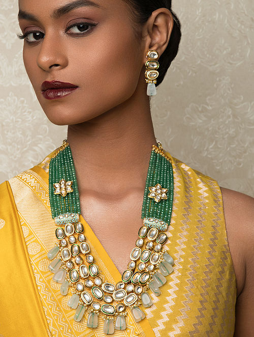 Green Gold Tone Kundan Necklace And Earrings With Agate