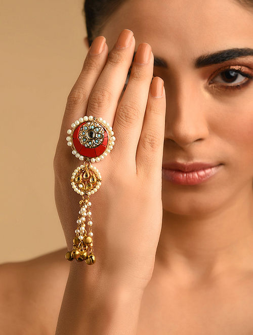 Red Gold Plated Kundan Ring