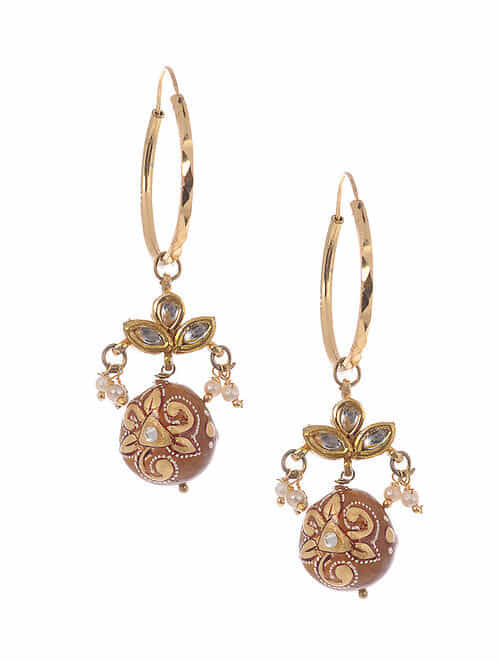 Yellow Gold Plated Kundan Earrings With Topaz