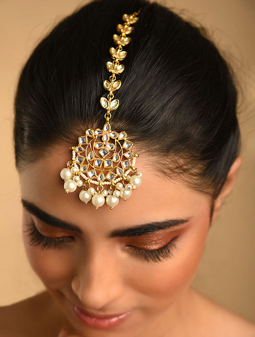 Gold Plated Kundan Maangtikka With Pearls
